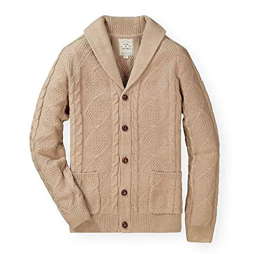 Hope & Henry Men's Shawl Collar Cable Knit Cardigan Sweater Camel Heather
