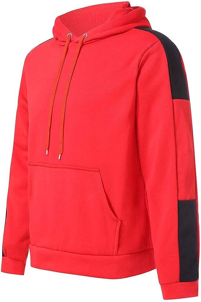 MODOQO Men's Long Sleeve Hoodies Casual Patchwork Warm Pullover Sweatshirt with Pocket