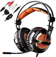 SADES SA928 Multi-Platform Stereo Professional Gaming Headset Over Ear Headphone with Microphone Volume-Control for PS4 PS3 Xbox One Xbox 360 PC Tablets Android MP3 MP4 (Black & Orange)