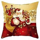 RK-HYTQWR Funda de Almohada Dorada de Navidad Santa Claus Funda de cojín Decorativa de Terciopelo de poliéster, 2 Funda de Almohada de Papá Noel con Dibujos Dorados, 2