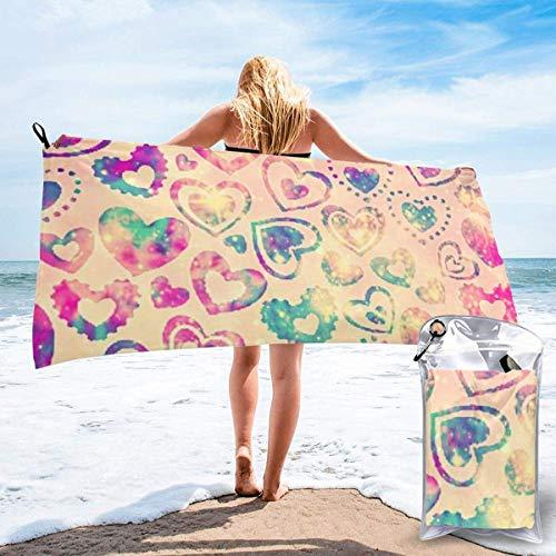 Toallas de Playa Toallas de baño compactas portátiles de Microfibra sin Arena, Candy Hearts Manta de Toalla de Camping súper Ligera de Secado rápido con una Bolsa de Transporte