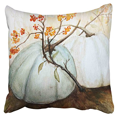 Accrocn Pillowcases Decorative White Autumn Pumpkins Fall Watercolor Blue Gray Cinderella Pumpkin Throw Pillow Case Cases Cover Cushion Covers Square Sofa Size 20x20 Inches Two Side