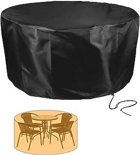 HYISHION Patio Exterior Cubiertas Mueble Impermeable Resistente UV Redondo Jardín Mesa Funda Transpirable Circular Mesa y Silla Refugio Funda,Negro,120 * 75cm