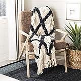 Safavieh Lila Grace Moroccan Boho Fringe Throw Blanket, Black/Beige