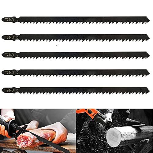 5 hojas de sierra de calar T744D 180 mm de hojas surtidas profesionales de acero al carbono para cortar madera y metal (5 unidades T744D)