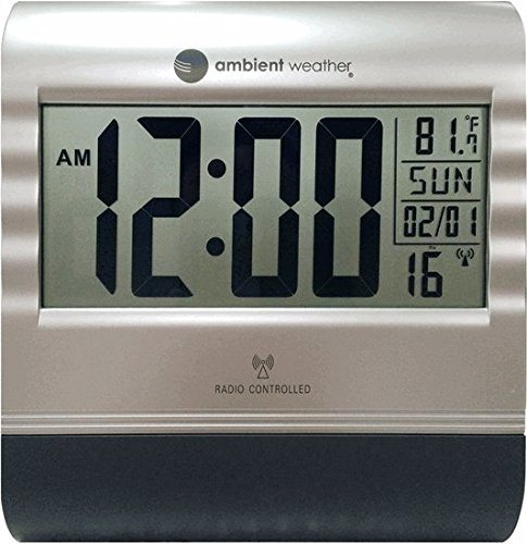 Ambient Weather RC-9362 Atomic Digital Wall Clock with Temperature