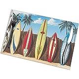 GuyIvan Tabla de Surf Tree Beach Divertido1 Alfombrilla Resistente Soporte de Comida Plato Antideslizante Cojín de montaña Cojín Mantel Juego de 6