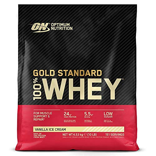 Optimum Nutrition Gold Standard Whey Protein Powder Muscle Building Supplements With Glutamine and Amino Acids, Vanilla Ice Cream, 146 Servings, 4.54 kg, Packaging May Vary