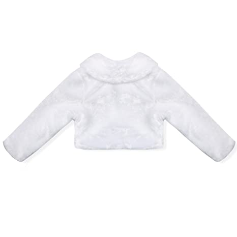 vastwit Toddlers Little Girls Faux Fur Long Sleeve Shrug Coat Wedding Party Bridesmaid Dress Cover Up