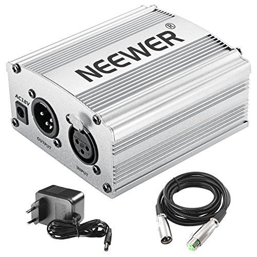 Neewer 1 Canal 48 V Phantom Fuente de alimentación de Color Plateado con Adaptador y Cable de Audio XLR para Cualquier micrófono de Condensador para música y Estudio de grabación