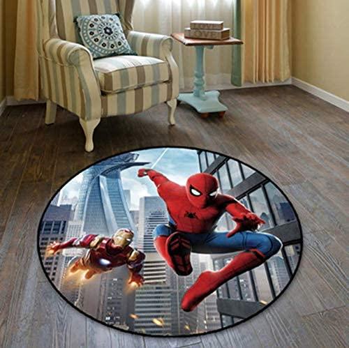 chengcheng Tapis Tapis Rond Spiderman Hulk Captain America The Avengers Anime Marvel Tapis Sol Chambre Paillasson Tapis Antidérapant Dessin Animé Tapis De Yoga 120 Cm