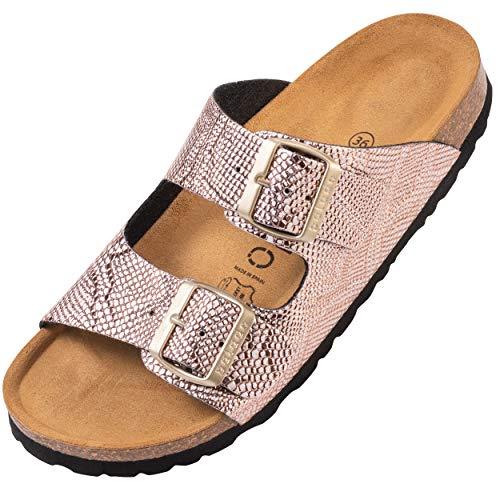 Palado® Damen Sandale Korfu | Made in EU | Pantoletten in modischen Farben | 2-Riemen Sandaletten mit Natur Kork-Fussbett | Herren Hausschuhe mit Leder-Laufsohle Python Rose 36 EU