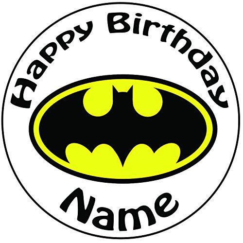 Personalisierter Batman Logo Zuckerguss Kuchen Topper / Kuchendekoration - 20 cm Großer Kreis - Jeder Name Und Jedes Alter