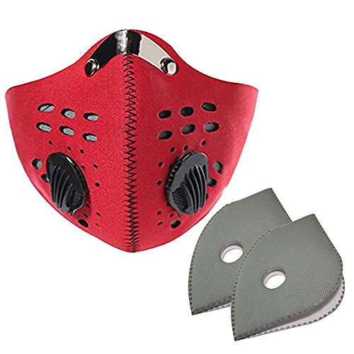 eizur Radfahren Anti-Staub Halb Gesichtsmaske mit Filter Fahrrad Active Carbon anti-haze winddicht kältebeständig Maske für Motorrad Ski Racing Outdoor Sport, Red+2pcs filters
