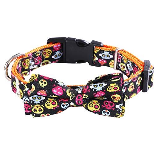 POPETPOP Collar de Perro Gato de Halloween con Hebilla Collar de Calavera Ajustable Gatos Gatito Perro Cachorro Accesorios de Cosplay L