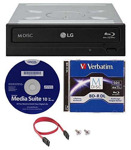 LG WH16NS40K 16X Blu-ray BDXL M-DISC DVD CD interner Brenner Laufwerk Bundle Verbatim M-Disc BD-R + Cyberlink Media Suite 10 + SATA-Kabel 50GB Verbatim MDisc BD-R DL Bundle