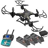 LYXMY 4K Caméra Faux-Bourdon, KY601G Quadricoptère RC avec LED Clair Intelligent Suivez, 6 Axe Gyroscope Calibration, Wi-FI Téléphone Mobile Contrôle, Double GPS, RC Drones Kit - Noir, 3 Batterie
