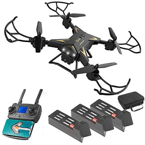 4K Cámara Dron, KY601G Cuadricóptero RC con Luz LED Inteligente SIGA, 6 Eje Giroscopio Calibración, WiFi Móvil Control, Dual GPS, RC Drones Kit - Negro, 3 Batería
