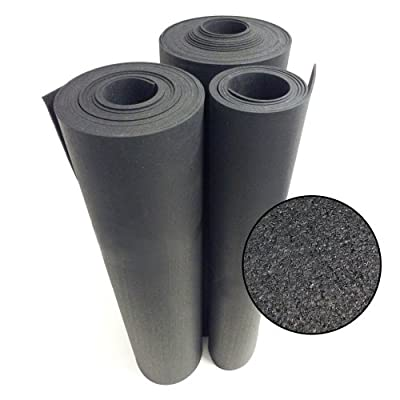 Rubber-Cal Recycled Floor Mat, Black, 3/8-Inch x 4 x 10-Feet