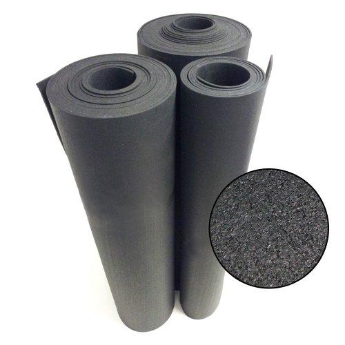 Rubber-Cal Rubber Flooring Rolls - 6mm x 4ft Wide x 8ft Long Roll - Black Rubber Mat