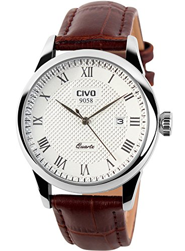 CIVO Mens Watches Luxury Waterproof Date Calendar Wrist Watches Men Leather Stainless Steel Casual Business Dress Watch Fashion Classic Analogue Quartz Watches for Men