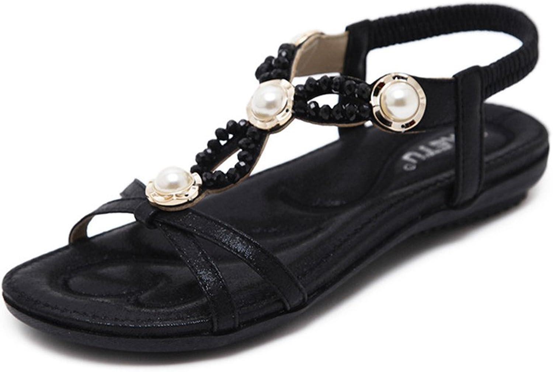 Flip Flops Flat Sandals for Women,Summer Boho Bead Rhinestone Holiday Clip Toe Beach shoes