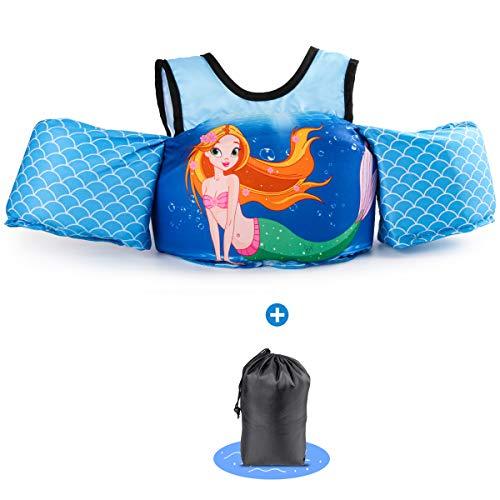 kacai Schwimmflügel mit Sicherheitsgurt Schwimmhilfe, für Kinder von 2-6 Jahre 10-30kg Schwimmanfänger hautfreundliche kein Aufblasen erforderliche Schwimmweste (Meerjungfrau)