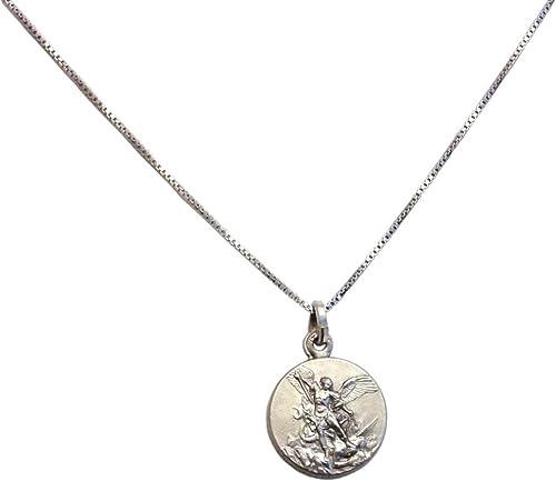 Médaille de Saint-Michel Archange En Argent Massif 925 avec la Chaîne En Argent 925