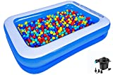 AMOCANE 79x59x20in Family Inflatable Swimming Pool (Included Pump), Suitable for Babies, Children, Adults, Large Inflatable Lounge, Backyard, Garden Simple Swimming Pool (for 1-3 Kids)