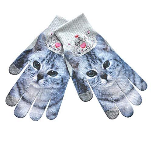 Handschoenen Vrouwen Mannen houden Warm 3D Print Gebreide Telefoon Scherm Kitty Huisdier Leuke Handschoenen Comfortabele Winter Handschoenen