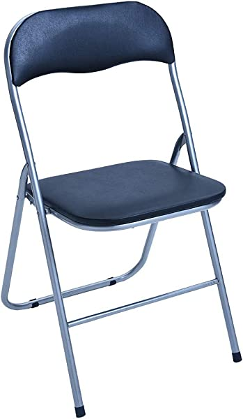 Kintaz 2Pcs Home Backrest Folding Chairs Casual Comfort Office Training Chairs Metal Frame Black