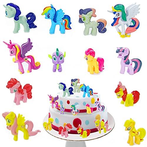 Xionghonglong Cake Topper Unicornio Decoración, 12 Piezas Topper Unicornio,Unicornio Cake Topper Figuras,Decoracion Fiesta Unicornio,Cake Decorations para Niños,Decoraciones de Fiesta de Cumpleaños