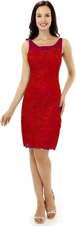 Lemai Short Knee Length Lace Sheer Bateau Mother of The Bride Formal Dresses