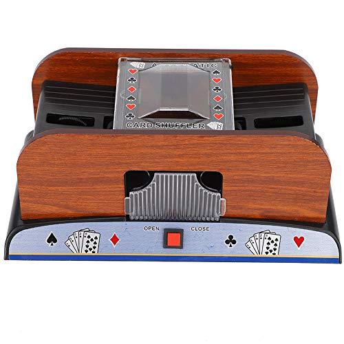 Batteriebetriebener automatischer Kartenmischer, Holzkartenmischer 2-Deck-Kartenmischer für Familienpokerspiele und andere Kartenspiele Poker, Rommé, Blackjack