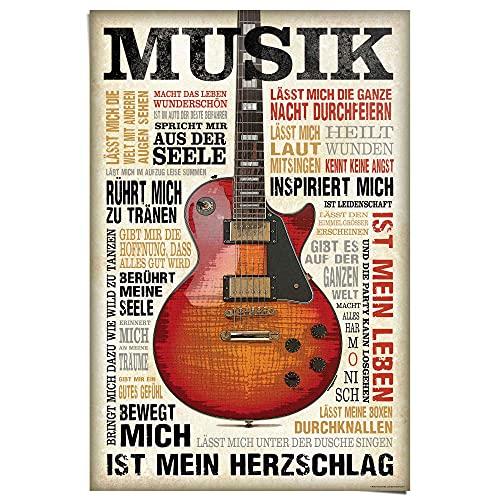 Poster Musik ist Leidenschaft - Papier 61 x 91.5 cm Braun Man Cave Musik