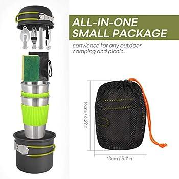 SKYSPER Kit de Casseroles Camping Poêlé en Aluminium pour 1 à 4 Personnes Ustensiles de Cuisine de Camping Multifonctions Léger Batterie de Cuisine de Camping pour Pique-Nique BBQ Randonnée Pêche