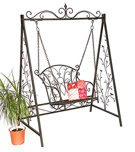 DanDiBo Hollywoodschaukel Metall Antik Gartenschaukel 18811+1868 Hängesessel Hängestuhl mit Gestell Schmiedeeisen Schaukel Garten