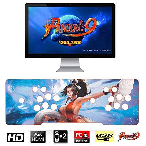 L&U Pandoras Box 9 Arcade Retro-Spielekonsole mit 2 Joysticks, 1500 Spiele in 1,10 3D-Spielen, 1280 x 720 Full HD, Unterstützung von HDMI/VGA/USB für PC, TV, PS3,Style 1