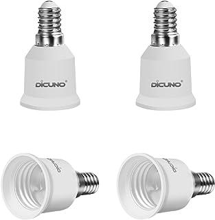 DiCUNO E14 to E27/E26 Adaptor, Converter Chandelier Socket to Medium Socket, LED Light Bulbs Converter, Max Wattage 200W, ...