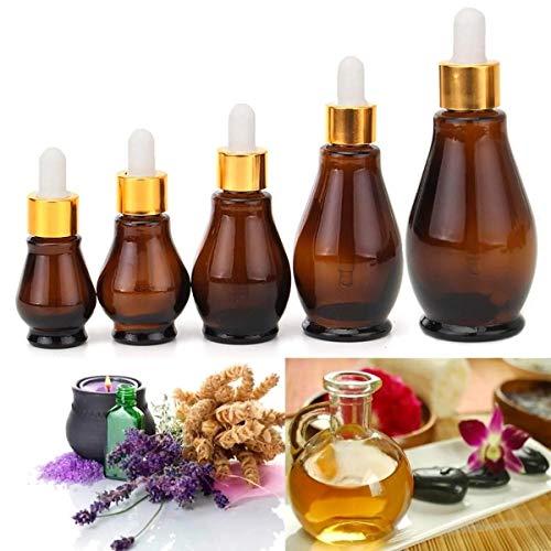 MxZas - Juego de 5 frascos rellenables para aromaterapia (ámbar y ojos), marrón, 100 ml