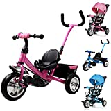 Deuba Tricycle pour Enfant Rose - avec Barre à Pousser et Panier Vélo 3 Roues Tricycle Enfant Jeux Jouet Sport extérieur