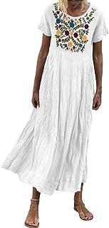 Vestido de Verano Vestido de Moda para Mujer con Estampado sin Mangas Vestido Largo Suelto con Dobladillo en V para Mujer