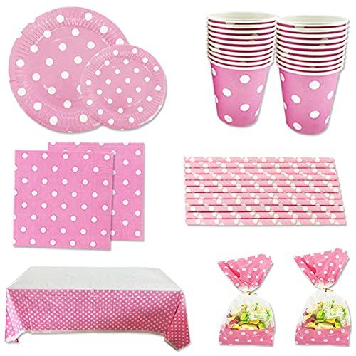 Set de Artículos Vajilla Desechables para Fiesta de Cumpleaños :Platos,Vasos,Servilletas,Mantel,Bolsas de Caramelos,Color Rosa a Lunares Para 16 Invitados