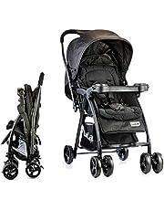 LuvLap Joy Stroller/Pram, Compact and Easy Fold, for Newborn Baby/Kids, 0-3 Years (Black)