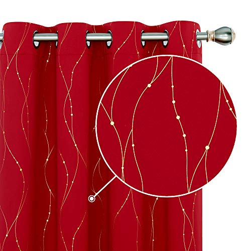 Deconovo Blackout Christmas Curtains Golden Printed Wave Line with Dots Design Grommet Top Window Curtains for Bedroom W52 x L84 Inch Red 2 Panels