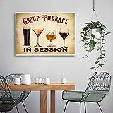 Cartel de bar retro Decoración de pub Terapia de grupo Cita divertida Arte de pared Pintura en lienzo Póster Cerveza Vino Cocina Decoración vintage para el hogar 19.6 'x 29.5' (50x75cm) Sin marco