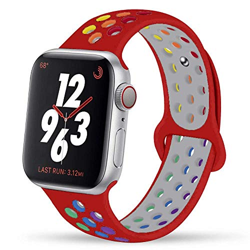 Ternzun Correa de silicona pulsera edición orgullo para Apple Watch Series 6 5 4 3 2 SE 44mm 40mm para iwatch Band 42mm 38mm (38 40mm SM, orgullo rojo)