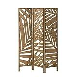 Biombo de Madera exótico marrón Plegable Tallado de...