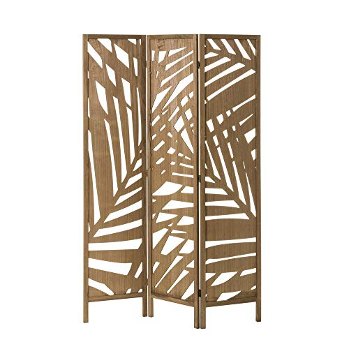 Biombo de Madera exótico marrón Plegable Tallado de 170x120 cm - LOL