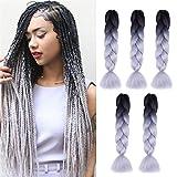 Kanekalon Ombre Braiding hair synthetic Crochet braids twist 24inch 5pcs/lot 100g Ombre two three tone Jumbo braid hair extensions Dreadlocks (black-Silver gray)